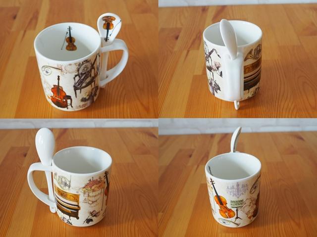 Musical instrument mug/ミュージカルインストゥルメントマグ/スプーン付き楽器柄マグカップ/ギフトBOX入り/250ml