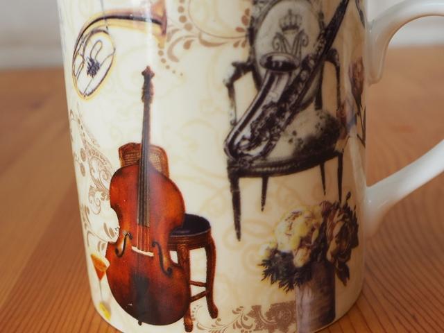 Musical instrument mug/ミュージカルインストゥルメントマグ/茶こし付き楽器柄マグカップ/ギフトBOX入り/200ml
