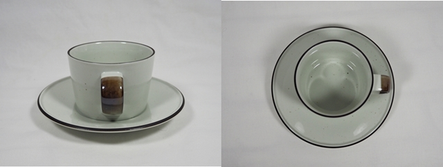 Manses Design OVANAKER Coffee cup with saucer Blue line/モンセスデザイン オーバノーケル コーヒーカップ with ソーサー /ブラウンライン